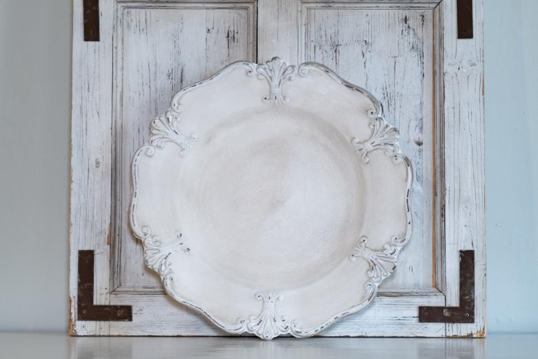 Round wooden decorative serving tray