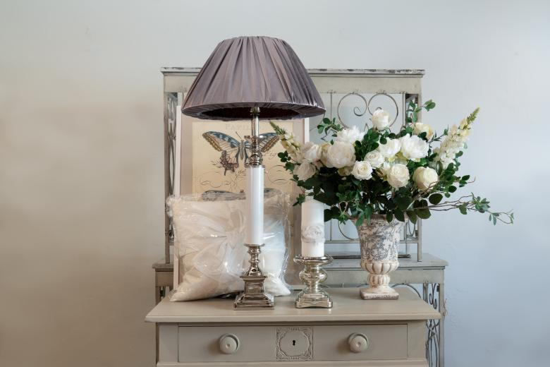 White and silver lamp with grey shade